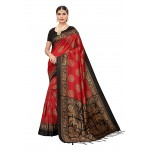 Black Red Printed Mysore silk Jhalor
